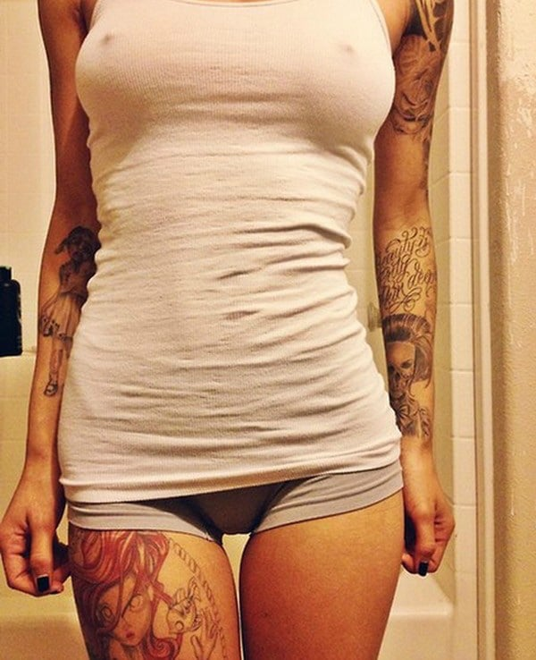 Girl with tattoos in underwear